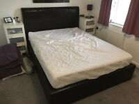 King Size Brown Leather Bed with storage