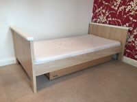 Mamas & Papas cot / cotbed, mattress, drawers, wardrobe, shelf, toy storage box - all matching