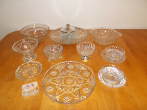 LOT OF 10 VINTAGE CRYSTAL GLASSWARE - $20 For ALL!!!!