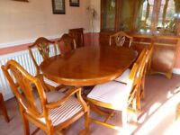 Reproduction dining table, eight chairs and extension leaf