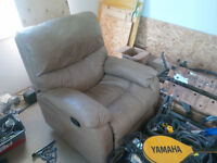 leather recliner- great condition- tan colour