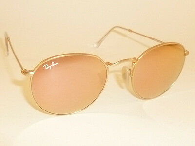 New RAY BAN Sunglasses ROUND METAL Matte Gold  RB 3447 112/Z2 Pink Mirror (Ray Ban Round Pink Gold)