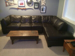 Oakdale 3-Piece Leather Left-Facing Sectional Sofa Set - Brown