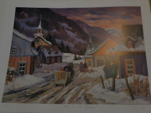 C. Langevin litho: Hiver a la campagne signed and numbered