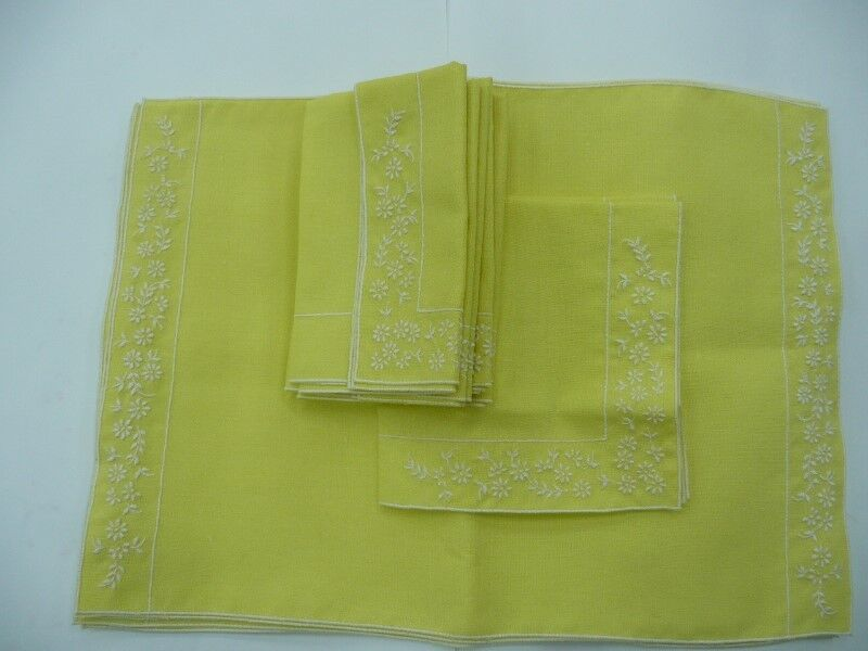 Vintage Dining Table Placemat MATS and NAPKINS Complete SET YELLOW Linen White Embroidery 6+6pieces