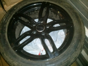 """Core racing 17"""" rims with summer tires barely used 5x114. 3 bolt"""