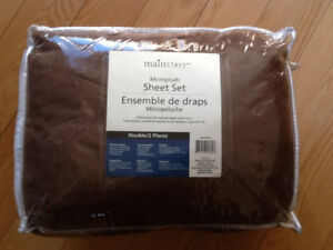 Double Set of Microplush Sheets - Brand New - Chocolate Brown