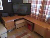 Corner Desk and storage units Solid Wood