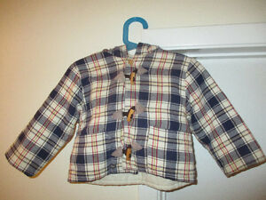 6-12 months Plaid Cotton Coat with Hood Made in England
