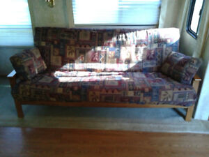 Solid wood frame double bed sized futon