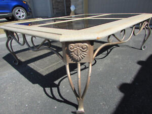 Wrought Iron Coffee Table with Glass Inserts.