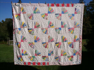 Vintage Hand Sewn Quilt 82 x 72 inch From 40's to 1950's