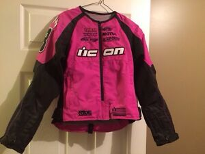 Xsmall icon motorcycle jacket and small helmet