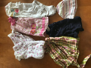Lot of Girls Baby Clothes 0 to 9 Months Dresses Onesies Socks Mo