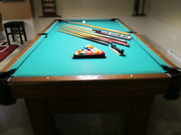 Slate top pool table and 3 shade light must go!!!