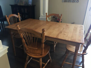Solid Birch Dining Table & Chairs