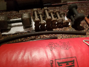 Dumbbells, punching bag, attachments