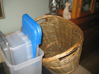LARGE WICKER BASKET, HAND WOVEN PLUS FREE CONTAINERS