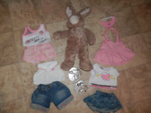 Bunny with a few sets of clothing (by Build A Bear)