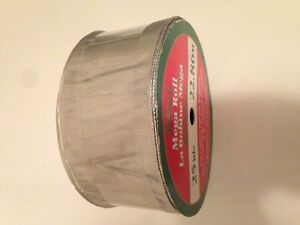 MEGA ROLL OF SILVER METALLIC  WIRED RIBBON