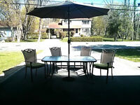 Patio Set and Chairs/Used One Season.