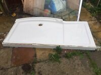 Large shower tray and glass shield