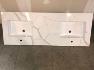 ----Double sinks QUARTZ VANITY TOP ON SALE!ONLY $599.00