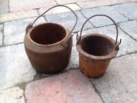 Pair of Old Antique Iron Melting Pots - VGC - CAN DELIVER