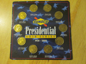 SUNOCO Presidential US Coin Collection Series 1950-2000 Brass