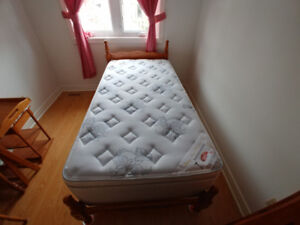 Twin bed frame,  mattress and foundation box