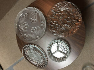 Serving tray, decorative plate and two pickle dishes