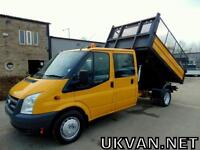 2009 09-REG FORD TRANSIT CREW CAB TIPPER, ONE COUNCIL OWNER, CAGE SIDES, TIDY...