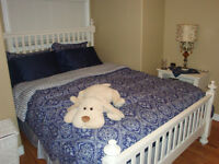 SOLD-White Queen Bedroom Set- Bed, Dresser and Two sidetables
