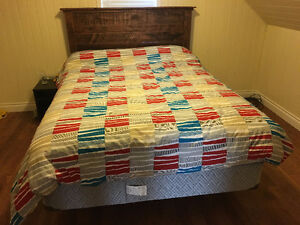 3 Month old queen size mattress, boxspring, headboard, frame