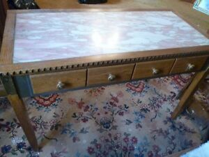 Vintage Pink Marble Desk/Table