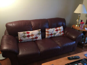 FOR SALE: LEATHER COUCH AND CHAIR