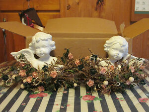 Two Ceramic Angel Candle Holders