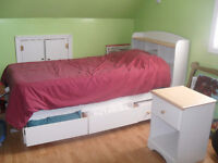 White Captains Bed + Headboard + Night Table