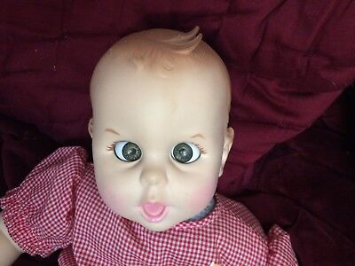 "1979 VINTAGE GERBER BABY DOLL RED WHITE CHECK OUTFIT 17"" MOVING EYES"