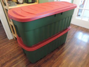 Two large and long rubbermaid totes.
