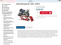 Clarke hydraulic motorbike lift virtually unused.