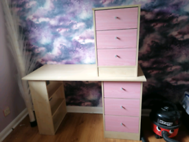 Malibu pink desk and drawer set