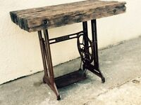 Singer sewing machine table rustic reclaimed garden desk table kitchen island can deliver