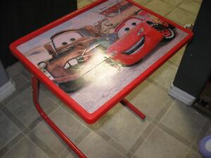 "cute ""CARS"" table and sleeping bag"