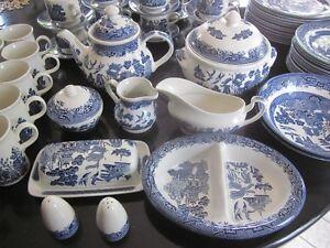 Vintage Churchill - Staffordshire England - Blue Willow Pattern Cambridge Kitchener Area image 1