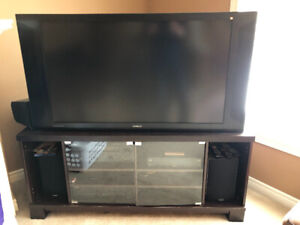 "TV 50"" Hitachi 50VG825 Projection TV and stand"
