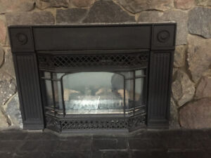 Electric fire place ( cast iron) and stone mantle best offer