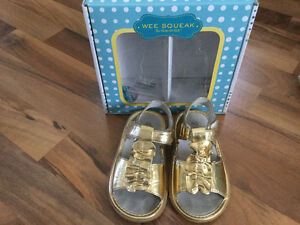 Gold WeeSqueak Sandals with matching pants