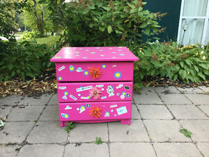 Pink side table with drawers - $20
