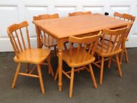Pine Dining/Kitchen Table and 6 Chairs